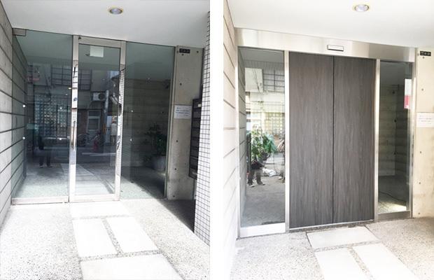 手動ドアを自動ドアに改修